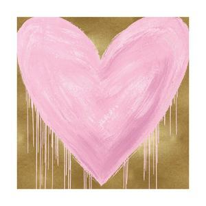 Big Hearted Pink on Gold by Lindsay Rodgers