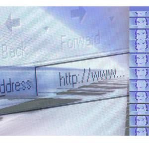 Line of Photographs of Woman's Face Beside Internet Toolbar And