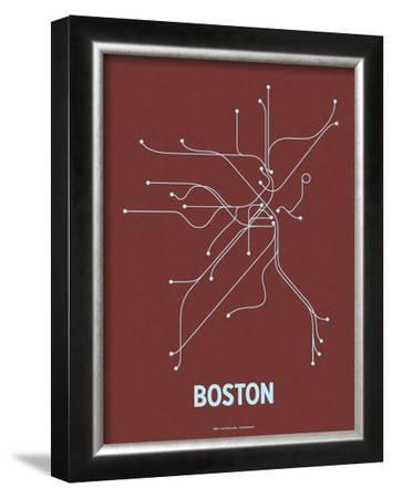 Boston (Maroon & Pale Blue) by Line Posters