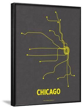 Chicago (Dark Gray & Yellow) by Line Posters