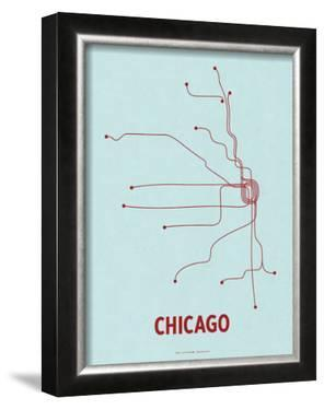 Chicago (Light Blue & Red) by Line Posters