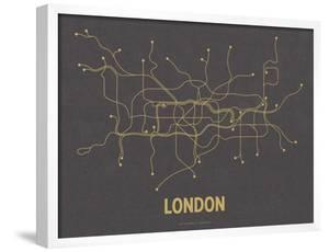 London (Dark Gray & Mustard) by Line Posters