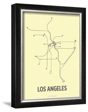 Los Angeles (Light Yellow & Dark Gray) by Line Posters