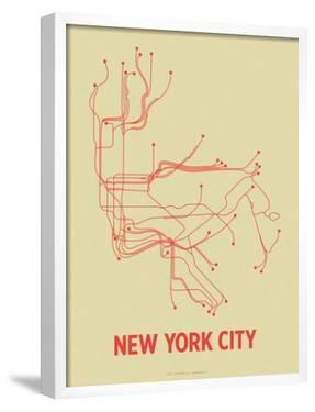 New York City (Cement Green & Orange) by Line Posters