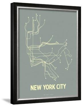 New York City (Steel Blue & Yellow) by Line Posters