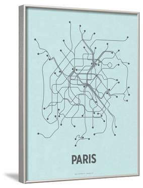 Paris (Light Blue & Dark Gray) by Line Posters