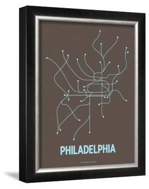 Philadelphia (Charcoal Brown & Light Blue) by Line Posters
