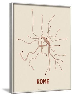 Rome (Newsprint & Maroon) by Line Posters