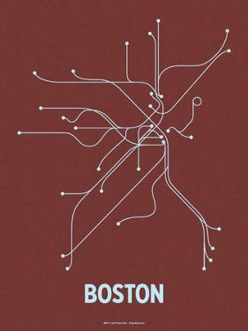 Boston (Maroon & Pale Blue) by LinePosters