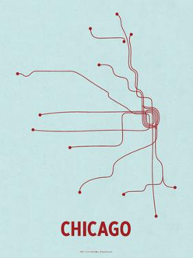 Chicago (Light Blue & Red) by LinePosters