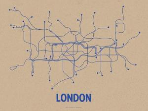 London (Oatmeal & Blue) by LinePosters