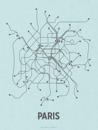 Paris (Light Blue & Dark Gray) by LinePosters