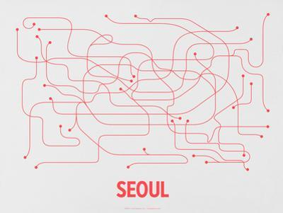 Seoul (Gray & Red) by LinePosters
