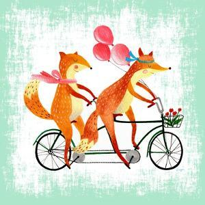 Foxes Like Bikes by Ling's Workshop