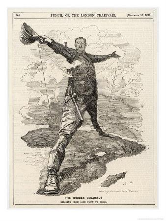 Cecil Rhodes Statesman Financier Imperialist. Caricatured as a Colossus Bestriding Africa