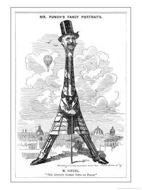 """Gustave Eiffel a Satire on the Recently Built Eiffel Tower: """"Our Artist's Latest Tour de Force"""" by Linley Sambourne"""