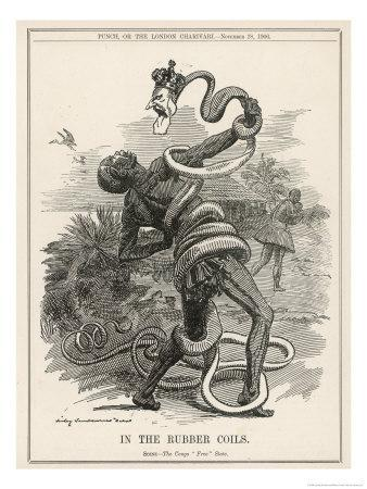 King Leopold II King of the Belgians Crushes the Belgian Congo. in the Rubber Coils