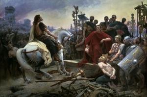 Gallic Chief Vercingetorix Throws His Sword at Feet of Julius Caesar, 46 BC by Lionel Noel Royer