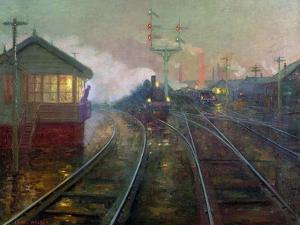 Train at Night C.1890 by Lionel Walden