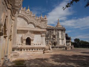 Lions sculpture at edge of Ananda Phaya temple, Bagan, Mandalay Region, Myanmar