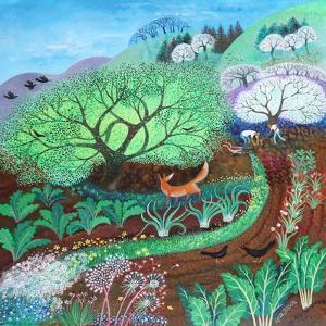 Springtime Jobs,acrylics on paper by Lisa Graa Jensen