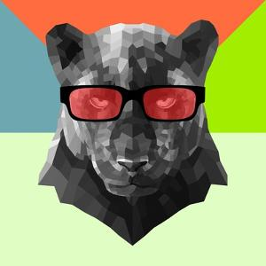 Party Panther in Red Glasses by Lisa Kroll