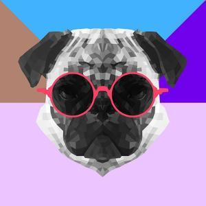 Party Pug in Pink Glasses by Lisa Kroll