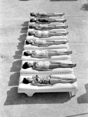 Fashion Models Wearing Swimsuits at a Florida Pool by Lisa Larsen