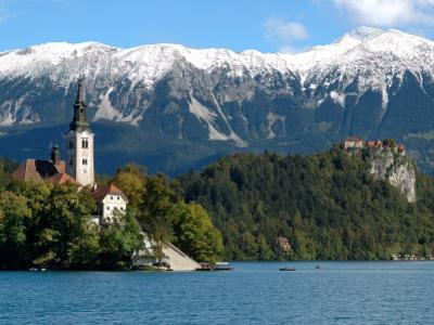 Bled Castle and Julian Alps, Lake Bled, Bled Island, Slovenia