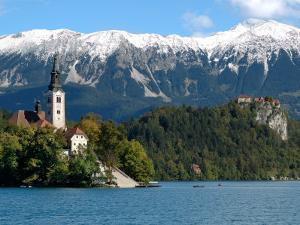 Bled Castle and Julian Alps, Lake Bled, Bled Island, Slovenia by Lisa S. Engelbrecht