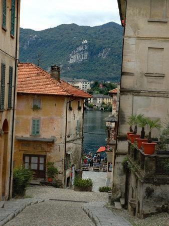 Cobblestone Street Down to Waterfront, Lake Orta, Orta, Italy