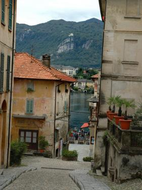 Cobblestone Street Down to Waterfront, Lake Orta, Orta, Italy by Lisa S. Engelbrecht