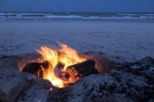 Florida, New Smyrna Beach, Campfire on the Beach by Lisa S. Engelbrecht