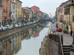 Shops and Restaurants Along Canal, Naviglio Grande, Milan, Italy by Lisa S. Engelbrecht