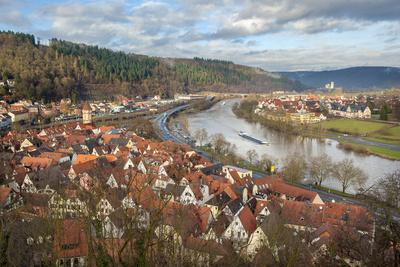 View of Main River and Wertheim, Germany in Winter