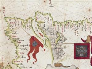 Lisbon and Tagus River Estuary from Atlas by Diego Homen, 1563
