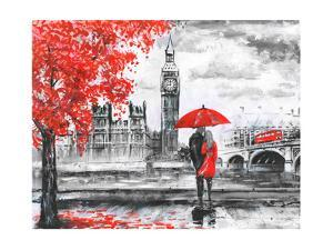 Oil Painting on Canvas, Street View of London, River and Bus on Bridge. Artwork. Big Ben. Man and W by lisima