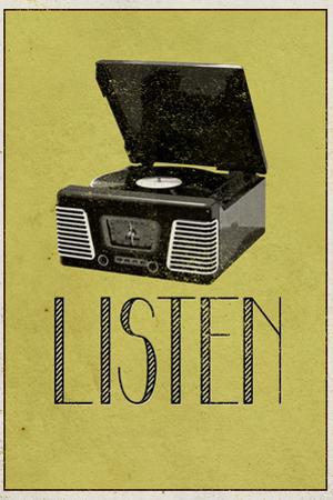 Listen Vintage Record Player Plastic Sign