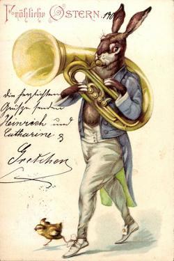 Litho Glückwunsch Ostern, Hase Spielt Auf Tuba, Küken