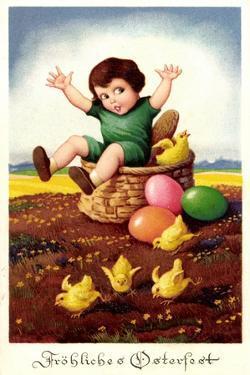 Litho Glückwunsch Ostern, Kind in Osterkorb, Küken,Eier