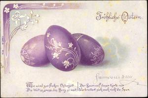 Litho Glückwunsch Ostern,Lila Bemalte Ostereier,Gedicht