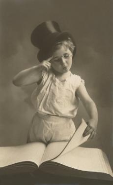 Little Boy in Top Hat Reading Book