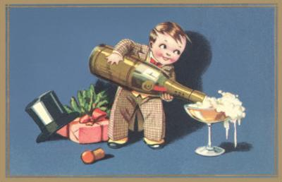Little Boy with Big Champagne Bottle