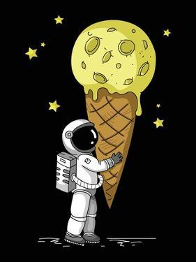 Little Cute Astronaut Holds a Cone with Moon Ice-Cream in His Hands, Hand Drawn Childish Vector Iso
