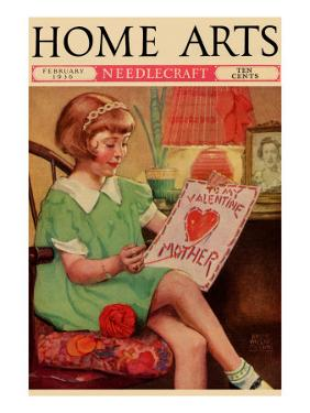 Little Girl Sews a Valentine