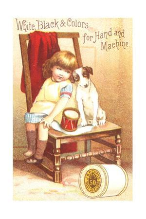 Little Girl Sitting with Dog on Chair