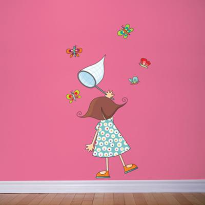 Little Girl with Butterflies Wall Decal