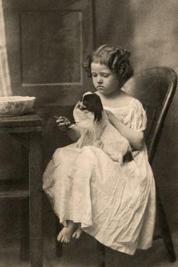 Little Girl with King Charles Spaniel