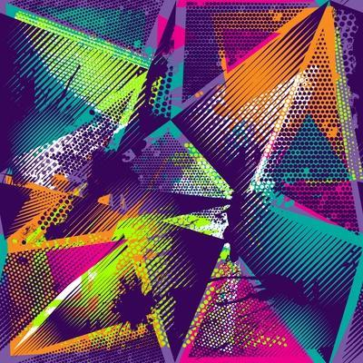 Abstract Seamless Geometric Pattern with Urban Elements, Scuffed, Drops, Sprays, Triangles, Neon Sp