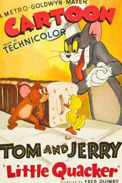 LITTLE QUACKER, l-r: Jerry the Mouse, Little Quacker, Tom the Cat on poster art, 1950.